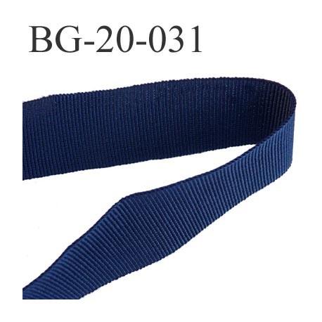 Galon ruban passementerie gros grain synthétique  largeur 20 mm couleur bleu marine très très solide prix au mètre