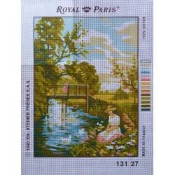 canevas 30X40 marque ROYAL PARIS thème la riviere dimension 30 centimètres par 40 centimètres 100 % coton