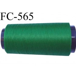 Cone de fil polyester fil n°120 couleur vert longueur du cone 1000 mètres bobiné en France