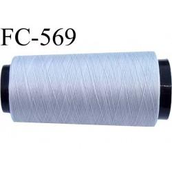 Cone de fil mousse  polyester fil n° 110 couleur gris longueur 2000  mètres bobiné en France
