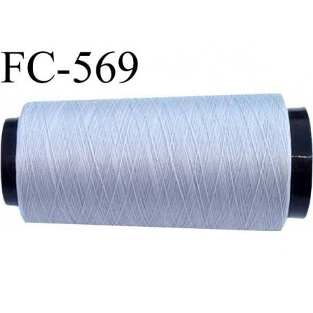 Cone de fil mousse  polyester fil n° 110 couleur gris longueur 5000  mètres bobiné en France