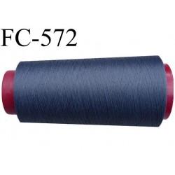 Cone de fil mousse polyester  fil n° 160 couleur gris anthracite bleuté cone de 1000 mètres bobiné en France