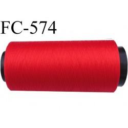 Cone de fil mousse polyamide fil n° 100 / 2 couleur rouge lumineux  longueur 1000 mètres bobiné en France