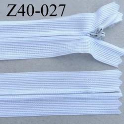 fermeture zip invisible longueur 40 cm couleur blanc non séparable zip nylon largeur 2.5 cm