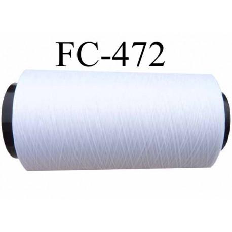 Bobine de fil mousse polyester texturé fil n° 160 couleur blanc cone de 500 mètres bobiné en France