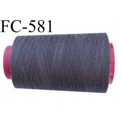 CONE de fil polyester fil n° 40 couleur gris anthracite  longueur de 1000 mètres bobiné en France