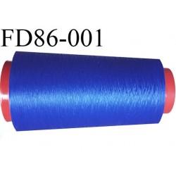 destockage  Cone de fil mousse polyamide n° 120 couleur bleu lumineux longueur  2000 mètres bobiné en France
