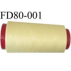 Destockage Cone de fil mousse  polyester  fil n° 165 couleur jaune pale  longueur 2000 mètres bobiné en France