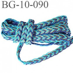 galon ganse cordon tressé largeur 10 mm épaisseur 2 mm couleur bleu or et turqoise trop beau très très solide prix au mètre