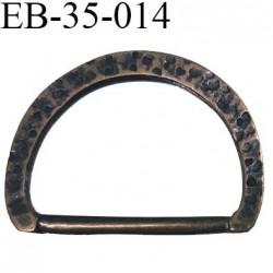 Boucle etrier anneau demi rond métal couleur laiton vieilli largeur 3.5 cm intérieur 2.8 cm idéal  sangle 2,5 cm hauteur 2.8 cm