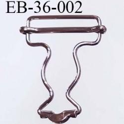 Boucle coulissante salopette en métal chromé largeur 3.6 cm hauteur 5.2 cm passage de sangle 3.2 cm épaisseur 2.2 mm