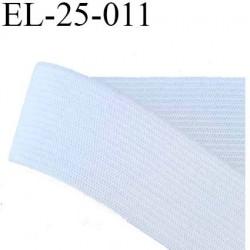 élastique plat souple  largeur 25 mm couleur blanc vendu au mètre
