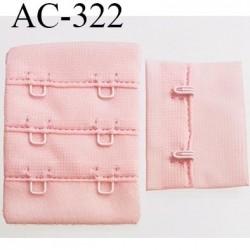attache rallonge extension de soutien gorge 2 crochets largeur 30 mm hauteur 53 mm couleur rose pétale