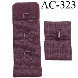 attache rallonge extension de soutien gorge 2 crochets largeur 20 mm hauteur 54 mm couleur marron
