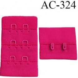 attache rallonge extension de soutien gorge 2 crochets largeur 30 mm hauteur 53 mm couleur framboise