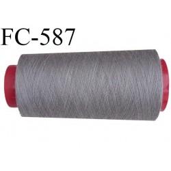 Cone de fil polyester fil n°100 couleur gris longueur du cone 2000 mètres bobiné en France