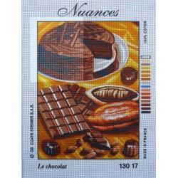 canevas 30x40 marque NUANCE FRANCE le chocolat jardin dimension 30 centimètres par 40 centimètres 100 % coton