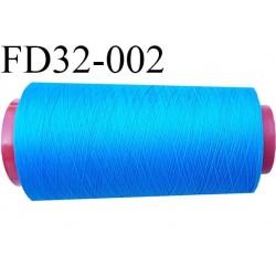 Destockage cone de fil mousse polyamide fil n°120 couleur bleu lumineux longueur du cone 2000 mètres bobiné en France