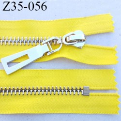 Fermeture zip à glissière en métal  longueur 35 cm couleur jaune non séparable  largeur 3.6 cm zip glissière largeur 6.5 mm