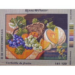 canevas 30x40 marque ROYAL PARIS cobeille de fruits dimension 30 centimètres par 40 centimètres 100 % coton