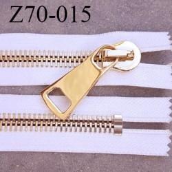 Fermeture zip à glissière en métal  longueur 69 cm couleur blanc non séparable  largeur 4 cm zip glissière largeur 12 mm