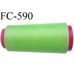 Cone de fil mousse  polyester fil n°160 couleur vert  longueur  2000 mètres bobiné en France