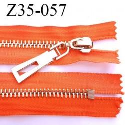 Fermeture zip à glissière en métal  longueur 35 cm couleur orange non séparable  largeur 3.6 cm zip glissière largeur 6.5 mm