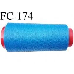 CONE 2000 mètres de fil mousse Polyester texturé fil n° 120 couleur bleu lumineux bobiné en France