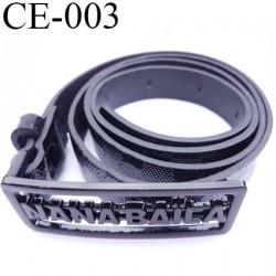 Ceinture façon cuir créatrice nana baïla couleur noir à damier et boucle en métal noir largeur 20 mm épaisseur 2 mm