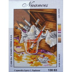 canevas 30x40 marque NUANCES DE PARIS l'aquarelle dimension 30 centimètres par 40 centimètres 100 % coton