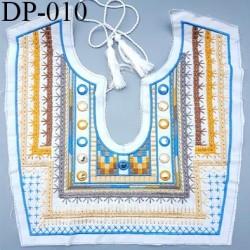 Devant Plastron Superbe en coton doux hauteur 30 cm largeur 30 cm largeur couleur écru bleu marron taupe ocre