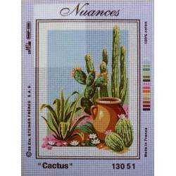 canevas 30x40 marque NUANCES DE PARIS cactus dimension 30 centimètres par 40 centimètres 100 % coton