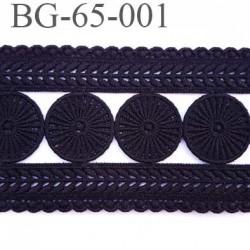Galon ruban passementerie largeur 65 mm longueur de 128 cm couleur noir  coton et synthétique vendu à la pièce