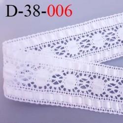 dentelle crochet coton et synthétique largeur 38 mm couleur blanc  prix  au mètre
