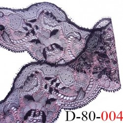 dentelle JACQUARD largeur 80 mm synthétique  couleur noir et rose lumineux douce agréable au touché prix au mètre