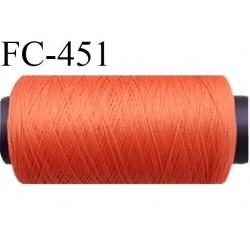Bobine de fil mousse polyamide fil n° 120 couleur orange  longueur 500 mètres bobiné en France