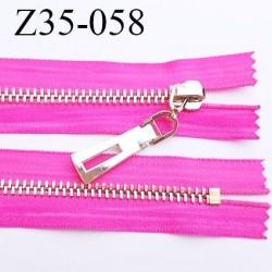 Fermeture 35 cm zip à glissière en métal   couleur fushia non séparable  largeur 3.6 cm zip glissière largeur 6.5 mm
