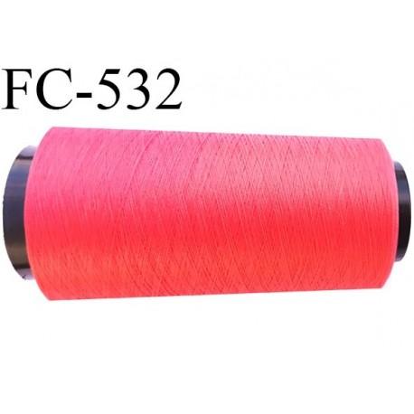 Cone de fil mousse polyester  fil n° 120 couleur corail cone de 1000 mètres bobiné en France