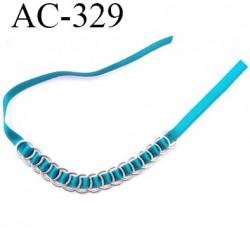 Bretelle ou accessoire lingerie  haut de gamme haute couture 16 anneaux en métal chromé diamètre 11 mm lien satin couleur vert