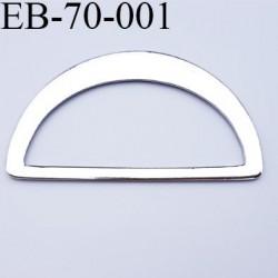 Boucle étrier  métal chromé largeur 70 mm extérieur passage intérieur 60 mm hauteur 40 mm épaisseur 2 mm