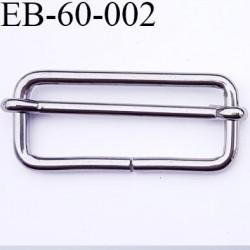Boucle coulissante  métal couleur acier chromé largeur extérieur 5.8 cm intér 5 cm hauteur extér 2.5 cm intérieur 1.9 cm