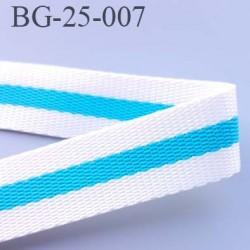 sangle biais ruban a plat polyèstère couleur blanc et bleu turqouise largeur 2.5 cm épaisseur 1.5 mm très très solide  au mètre