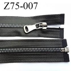 fermeture zip à glissière  longueur 75 cm couleur noir brillant  façon cuir séparable zip métal largeur 3.2 cm