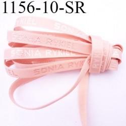 élastique de marque sonia rykiel inscription en surpiquage couleur chair rosé lumineux largeur 10 mm prix au mètre