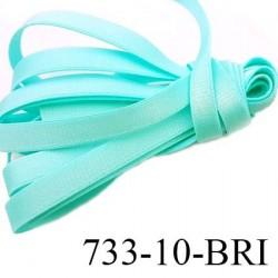 Elastique plat largeur 10 mm couleur vert lagon brillant superbe  très belle qualité haut de gamme prix au mètre