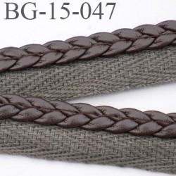 biais galon ganse superbe  façon tresse cuir et sergé coton  couleur marron et taupe largeur 15 mm prix au mètre