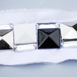 galon ruban  couleur blanc  décor strass brillant en forme de diamant largeur 40 mm prix au mètre