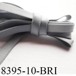Elastique bretelle plat largeur 10 mm couleur gris  brillant superbe  très belle qualité haut de gamme prix au mètre