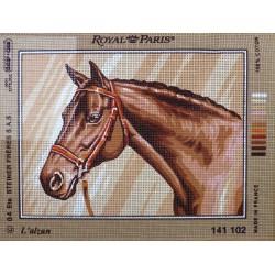 canevas 30X40 marque MARGOT CREATION DE PARIS thème cheval l'alzan dimension 30 X 40 cm 100 % coton fabrication en france