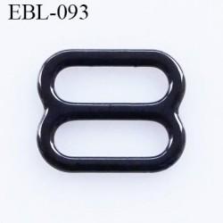 boucle de réglage 6 mm  réglette métal plastifié noir brillant pour soutien gorge largeur intérieur 6 mm  haut de gamme